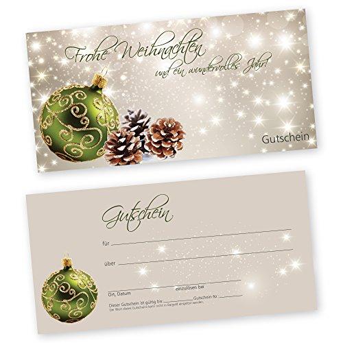 50 Weihnachtsgutscheine Gutscheinkarten XMAS STARS GREEN Gutscheine Geschenkgutscheine Gutscheinkarten