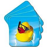 quietscheenten Bain moussant enfants jouet Set de 4dessous, Snorkel Wearing Rubber Duck, 6 x Coaster
