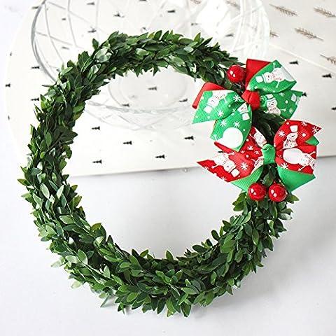 20cm simulazione arco verde Ghirlanda di Natale di canna da zucchero, il simbolo del fiocco di neve pupazzo di neve