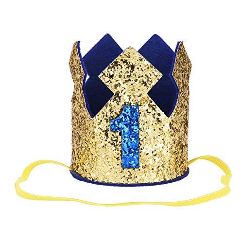 Freebily Baby Geburtstagskrone 1.Geburtstags Stirnband Hut Glänzend für Kinder Junge Mädchen Geburtstagsdeko Fotografie Party Kopfschmuck Gold 1 One Size