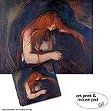 Geschenkset: 1 Poster Kunstdruck (50x40 cm) + 1 Mauspad (23x19 cm) - Edvard Munch, Vampir, 1895