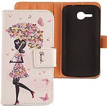 Lankashi PU Flip Funda De Carcasa Cuero Case Cover Piel Para Huawei Ascend Y600 Umbrella Design
