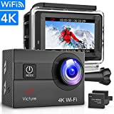 Victure Sports Camera 4K Ultra HD WI-FI 16 MP with Remote Control Camera Camcorder Waterproof 30 m 170 ° Grand-Angle with 2 LCD 2 Batteries Rechargeable 1050 mAh and 18 Accessories