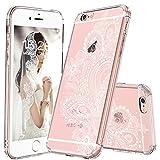 MOSNOVO Coque iPhone 6s Plus, Blanc Fleur Henné Paisley Coque iPhone 6 Plus Transparent Clair Design Motif Rigide Arrière avec Souple TPU Bumper Gel Coque de Protection pour Apple iPhone 6/6s Plus