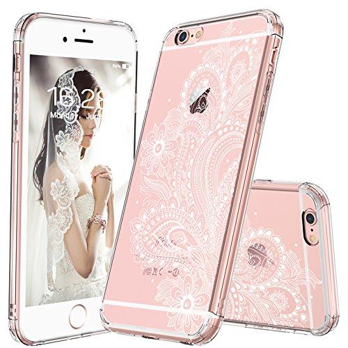 MOSNOVO iPhone 6 Plus Hülle, iPhone 6s Plus Hülle, Weiß Paisley Henna Blumen Klar Muster Premium TPU Bumper mit Hart Plastik Transparent Durchsichtige Schutzhülle für Apple iPhone 6 Plus (5,5 Zoll)