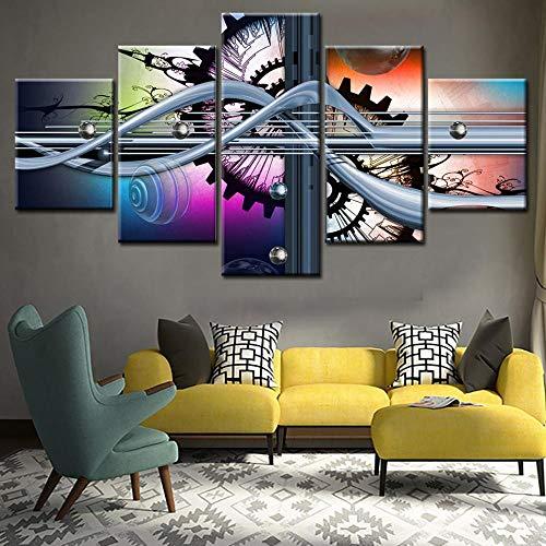 Relddd Pintura al óleo Grabados Pintura Decorativa de la Sala de Estar Libre de Marco Lona Dibujo Base Arte Abstracto Micro Spray Pintura Cinco-Pintura a Pistola