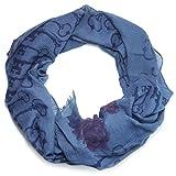 Trends & Trade Damen Schal Halstuch | Tuch mit Print in blau und rot | Baumwolle mit Viskose