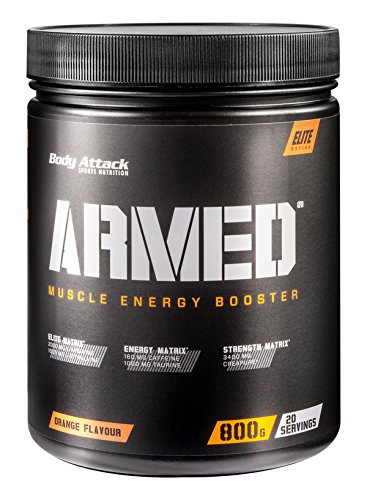 Body Attack Armed ein Muscle Energy Booster mit hochdosierten Wirkstoffen, Orange, 800...
