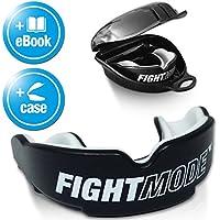 FIGHT MODE ® Mundschutz + gratis Hygiene-Box + gratis eBook | Zahnschutz anpassbar, in schwarz für Erwachsene | die beste Wahl beim Kampfsport, Boxen, Kickboxen, MMA, American Football & Eishockey