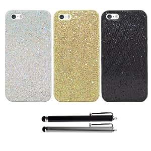 3 x EnGive Glitzer Luster Glitter Handytasche iPhone 5S Hülle Hartschale Tasche Skin Cover und 2 Universal Stylus Pen