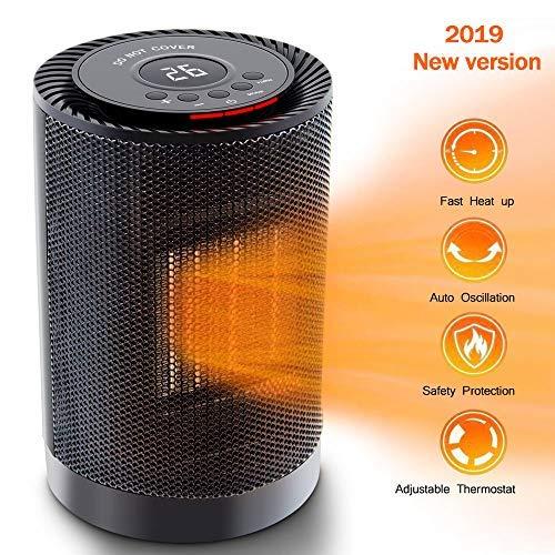 Mini Heizlüfter, Keramik Heizung mit LED Anzeige & Thermostat, 16-37℃ konstante Temperatur Kontrolle, 3 Leistungsstufen, Temperatur VoreingeStellbar, Oszillierend, Überhitzungs und Umkippschutz (01)