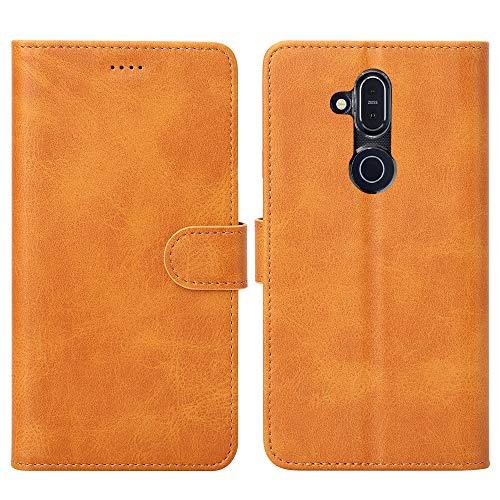 Eastcoo Kompatibel Nokia 8.1 Hülle Folio Flip Schutzhülle Tasche Handyhülle Cover PU Leder Dünn Premium klappbares Bumper Case [Mit Standfunktion][ Magnetverschluss] [Kartenfach] (2-Khaki)
