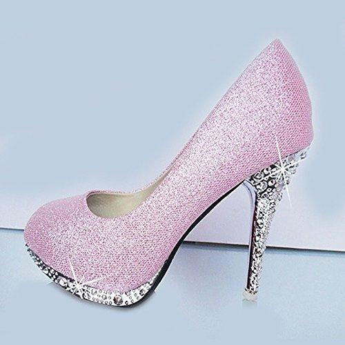 XINJING-S Bowknot Tacchi Alti scarpe matrimonio partito donne tacchi pompe OL vestono scarpe Sandali Rosa 7cm