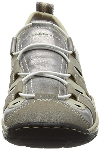 Rieker L0561 Women Low-Top, Sneakers Basses femme Grau (vapor/grey/beige / 41)
