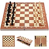 Webby Folding Travel Wooden 9x9 inch Chess Board (Multicolor)