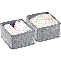 mDesign Organizador para bebe – 2 Cajones organizadores para cosas de bebé, mantas, etc. – También puede ser utilizado como caja para guardar juguetes – Color:gris