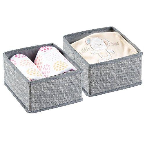 mDesign Baby Organizer – 2er-Set Aufbewahrungsbox für Windeln, Feuchttücher etc. – ideal für Aufbewahrung von Spielzeugen – grau