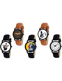 Xforia Boys Watch Brown & Black Leather Casual Analog Watches For Men Pack Of 5
