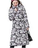 Damen Mantel Reißverschluss Und Knöpfe Daunenjacke Lang Warmer Steppjacke Parka Mit Kapuze Tarnung Grau XL