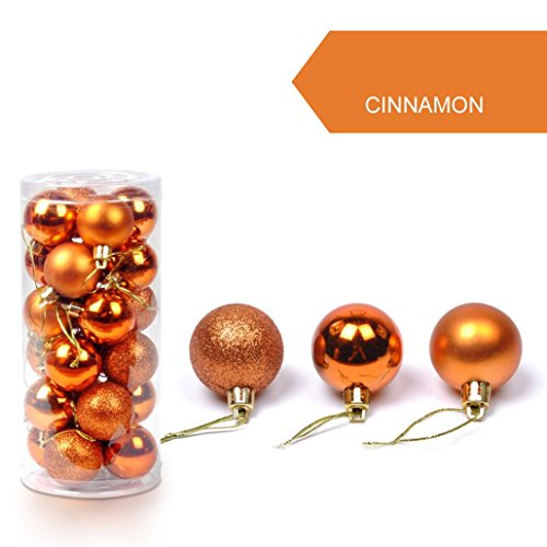 LuckyGirls 24Pcs 30 mm boules de Noël arbre boule de boules accrochage déco Décoration (orange)