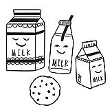 luvel (M10) - 4er-Set Süße, schwarz-weiße Milk & Cookie Milchtüten, Kinderzimmer,3D-Wanddeko, Bilder, Kinderposter, Dekoration, Wandtattoo, Bild Babyzimmer ca. 10 x 20 cm groß