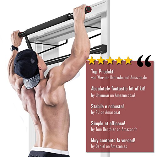 Pull-Up-Bar-for-Door-Frames-without-Screws-Drilling-Workout-Guide--Professional-Chin-Up-Bar-with-Padded-Handles-Extra-Wide-Workout-Bar-for-Hanging-in-Doorway-at-Home-Mounting-on-Doors-Indoor