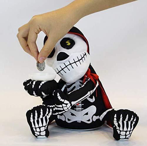 (Gwill Halloween Elektrische Vampir Schädel Weichem Plüsch Geld Bank Gepolsterte Puppe, kann singen und Tanzen Zombie Münze Bank Puppe Plüsch Schädel Geist Halloween Party Lustige Spielzeug)