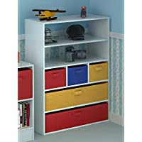 Home Source Kids Toy Storage Cabinet 5 Tiers 5 Canvas Drawers for Children
