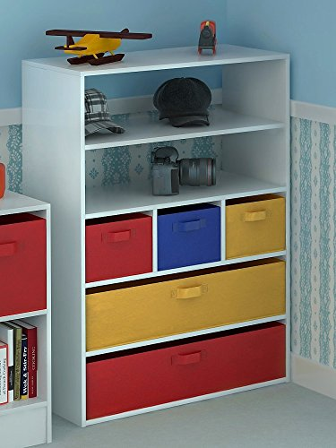 Home Source Kids Toy Storage Cabinet 5 Tiers 5 Canvas Drawers for Children's Bedroom