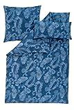 Estella Mako Satin Bettwäsche 3 teilig Bettbezug 135 x 200 cm Kopfkissenbezug 80 x 80 cm + 40 x 80 cm Dilay 7342031-600 Blau