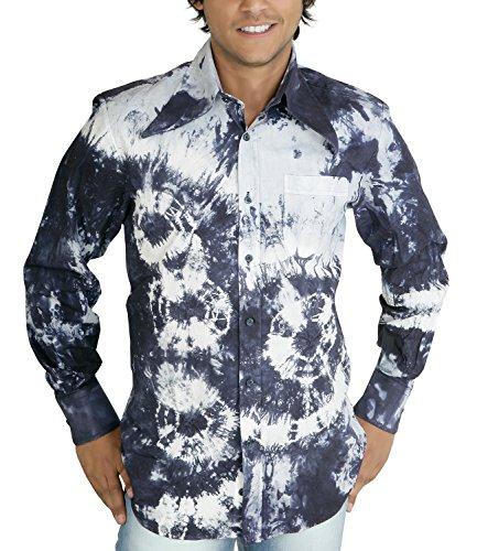 Batik Langarmhemd 70er Hippie Look blau S