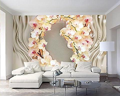 Lqwx Custom 3D Fond D'Orchidée, Fleur En Soie De Luxe Tv 3D Fond Papier Peint Décoration Salon Cheval Fond Papier Peint Des Murales 120Cmx100Cm