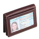 RFID-Blocking Thin Leder Geldbörse Geldbeutel Portemonnaie Kreditkartenetui Ausweishülle Kartenetui mit ID Fenster für Damen und Herren
