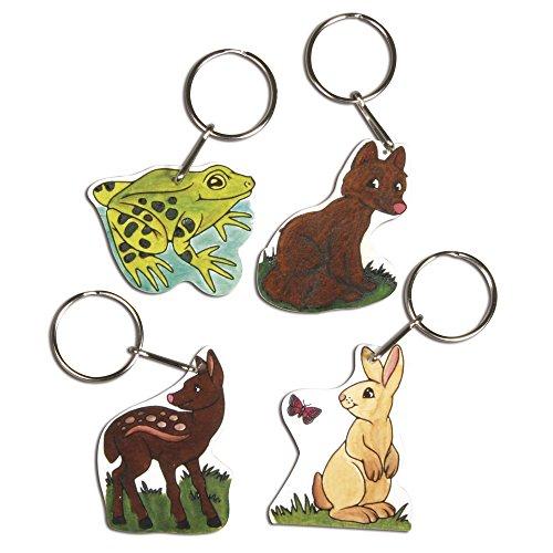Rayher Hobby 75356000 Schrumpffolien-Set Wildlife, 4 Motive mit Schlüsselring, 8-teilig