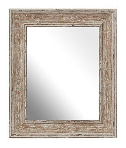 Inov8 mfes-swwh-75 specchio con cornice in stile tradizionale, 22 x 17 cm, effetto delavé, colore: bianco