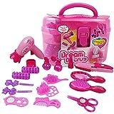 Erencook 17PCS Pink Spielzeug Schönheits Set Kinder schminkset Schminksachen Schönheit Prinzessin Mädchen Koffer Rollenspiel Spielzeug Pretend Makeup Kit