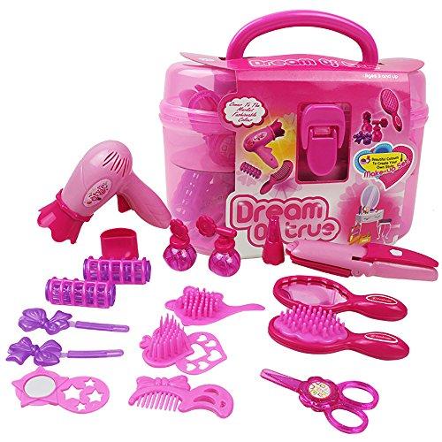 Erencook 17PCS Pink Spielzeug Schönheits Set Kinder schminkset Schminksachen Schönheit Prinzessin...