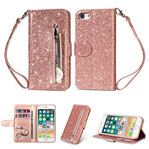 Coque iphone 7, iphone 8 Housse en Cuir LaVibe PU Leather Etui Portefeuille à Rabat Glitter Clapet Support Fermeture éclair Porte Video Stand, Flip Wallet Protective Case Cover–Or Rose