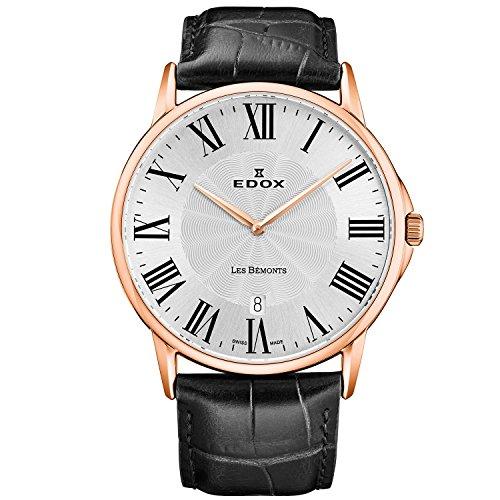 Edox Men's Les Bemonts Ultra Slim 40mm Leather Band Quartz Watch 56001 37R AR