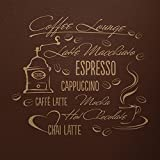 WANDfee Wandtattoo Kaffee Lounge Küche Spruch AA44 Größe B 67 x H 60 cm Farbe cappuccino