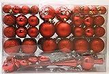 101 teilig Weihnachtskugel Herz Kugel mit Schneeflocke Christbaumspitze mit 100 Metallhaken Anhänger Baumschmuck Weihnachten (Rot)
