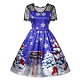 OverDose Damen Frohe Weihnachten Mode Stil Frauen Vintage Weihnachtsmann Print Spitze Abend Party Karneval Elegante Kleid Rock Geschenke(X-Blau,EU-32/CN-S)
