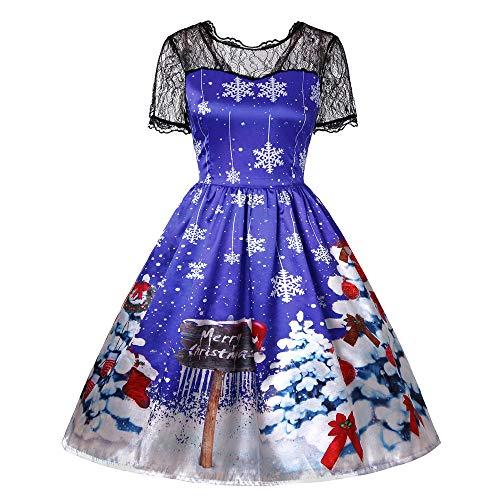 (TWBB Damen Weihnachtsmann Drucken Kostüm Swing-Kleid Winter Abschlussball Cocktailkleid Abendkleid Partykleid, Empire Schärpen Knielang Ballkleid)