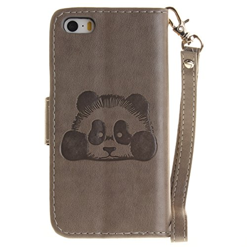 Coque iPhone SE 5SE 5 5S, Forhouse 3D Panda En Relief Flip PU Cuir Wallet Case Fonction Stand[Card Cash Slots][Dragonne]Doux TPU Interior Magnetic Closure Portefeuille Coque Bookstyle Anti-Rayures Ant Gris
