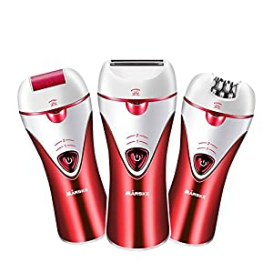 Epilator,3 in 1 Rechargeable Women Cordless Epilator Bikini Trimmer Hair Removal Shaver for Facial Body Armpit Leg Foot Grinder Shaver Foot Care (Red)