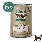 Wildes Land | Nassfutter für Hunde | Rind PUR | 6 x 400 g | mit Distelöl | Getreidefrei & Hypoallergen | Extra hoher Fleischanteil von 70% Akzeptanz und Verträglichkeit