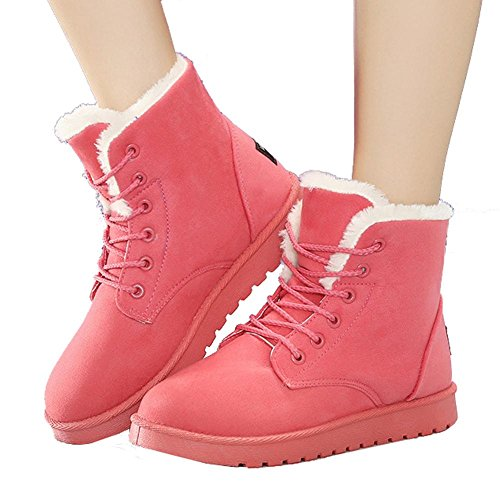 women ankle short martin boots leather suede plush flat heel winter warm casual shoelace snow cotton shoes . pink . 41 (Fit T-shirt Womens Sign)