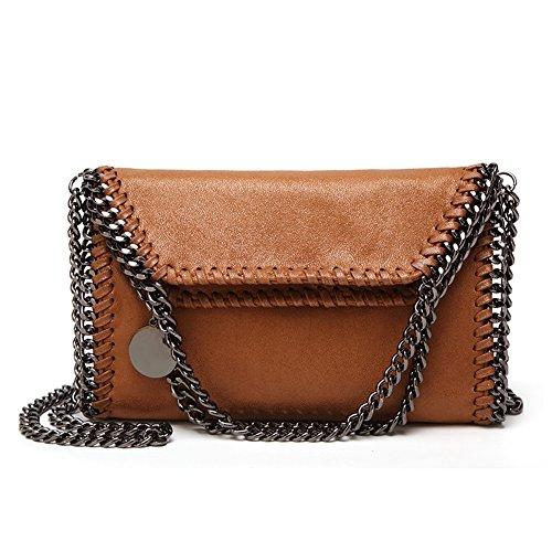 Angleliu Damen PU lässigen Kette Handtasche Modisch Schultertaschen Glitzer Beuteltasche (Mittleres Khaki) - Khaki Handtasche
