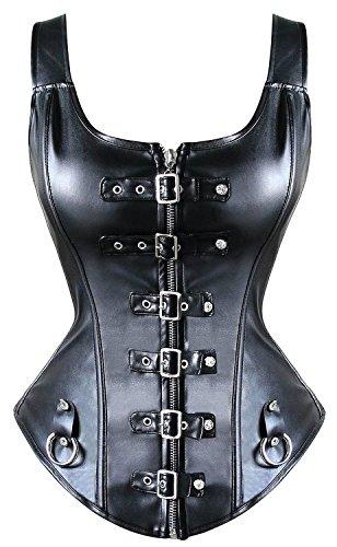 Kiwi-rata Vollbrust Vintage Steampunk Gothic Faux Leder Weste Corsage Korsett Korsage Corsagen Übergrößen, Größe Large, Farbe Rock Schwarz(no steel bones) #7
