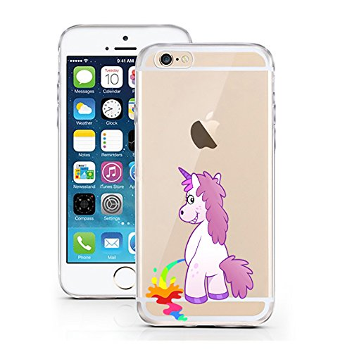 Hülle für iPhone 6 / 6S  TPU Einhorn PiPi Bunt iPhone 6 Case transparent Sketch klare Einhörner Schutzhülle iphone6 Tasche iPhone 6 Hülle Comic Hülle Unicorn Cases